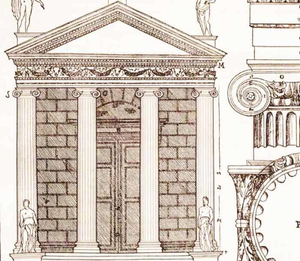 drawing of a Roman Temple